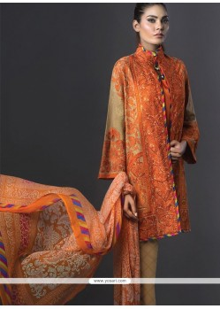 Graceful Orange Embroidered Work Designer Suit