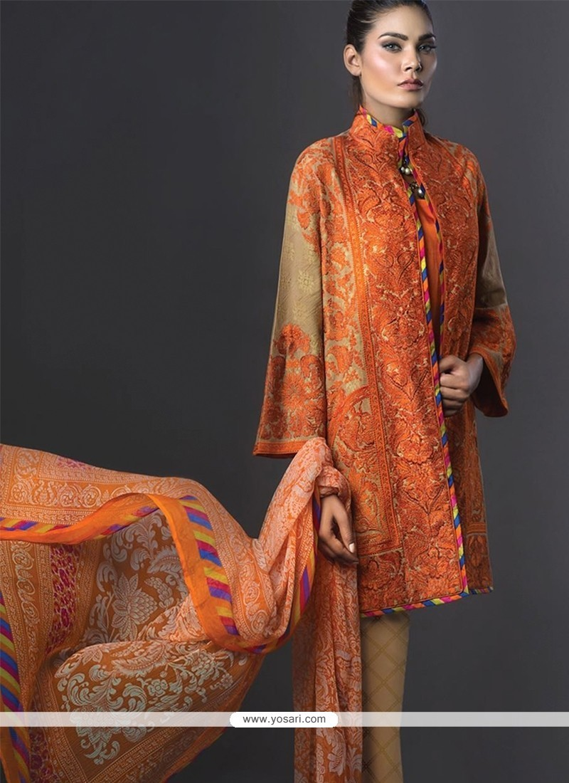 Graceful Orange Embroidered Work Designer Suit