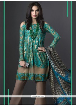 Praiseworthy Sea Green Embroidered Work Georgette Designer Suit