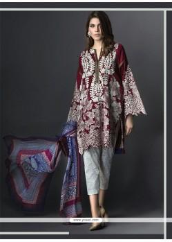 Glossy Print Work Maroon Georgette Designer Suit