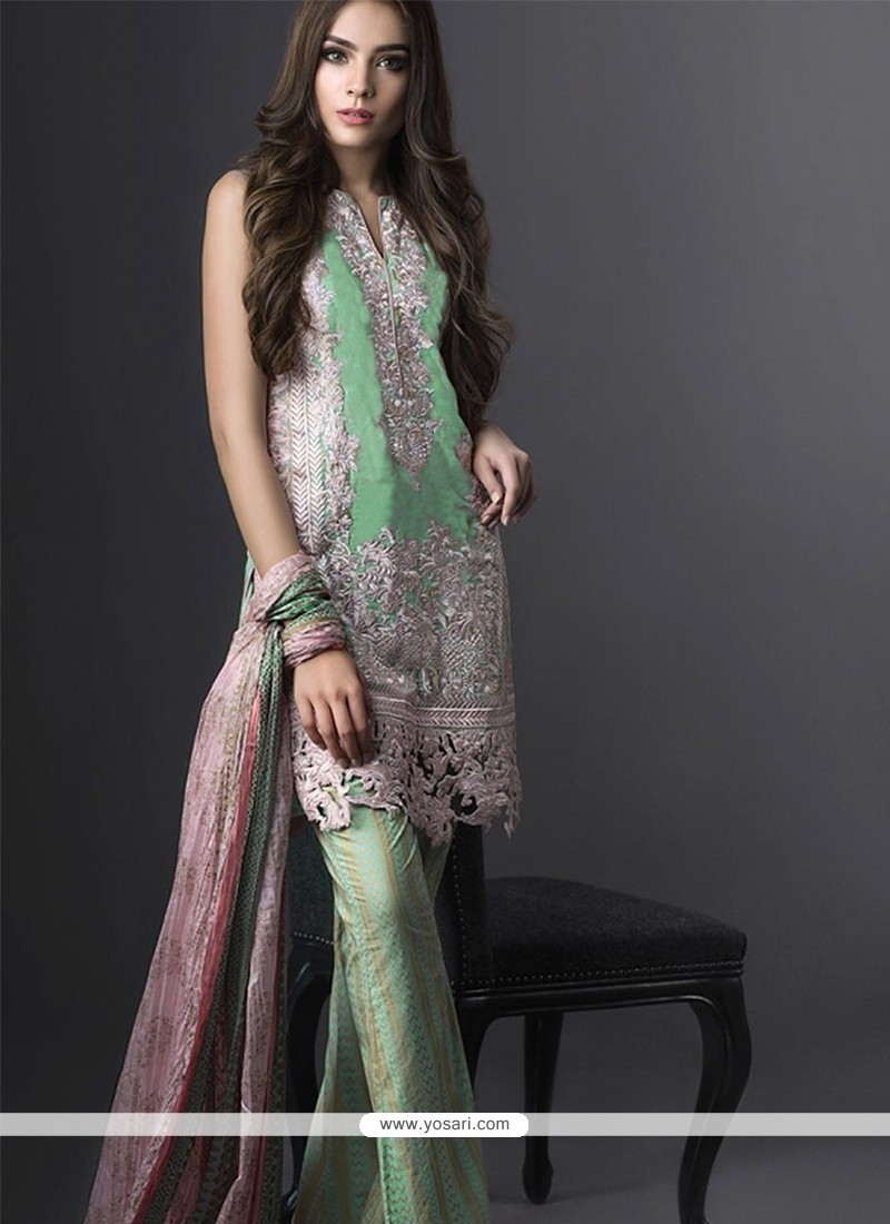 Sophisticated Sea Green Embroidered Work Designer Suit