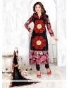 Hypnotic Cotton Black Embroidered Work Churidar Designer Suit