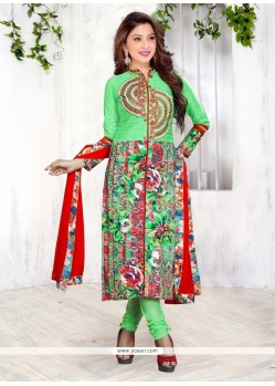 Remarkable Cotton Print Work Churidar Designer Suit