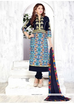 Catchy Multi Colour Print Work Churidar Designer Suit