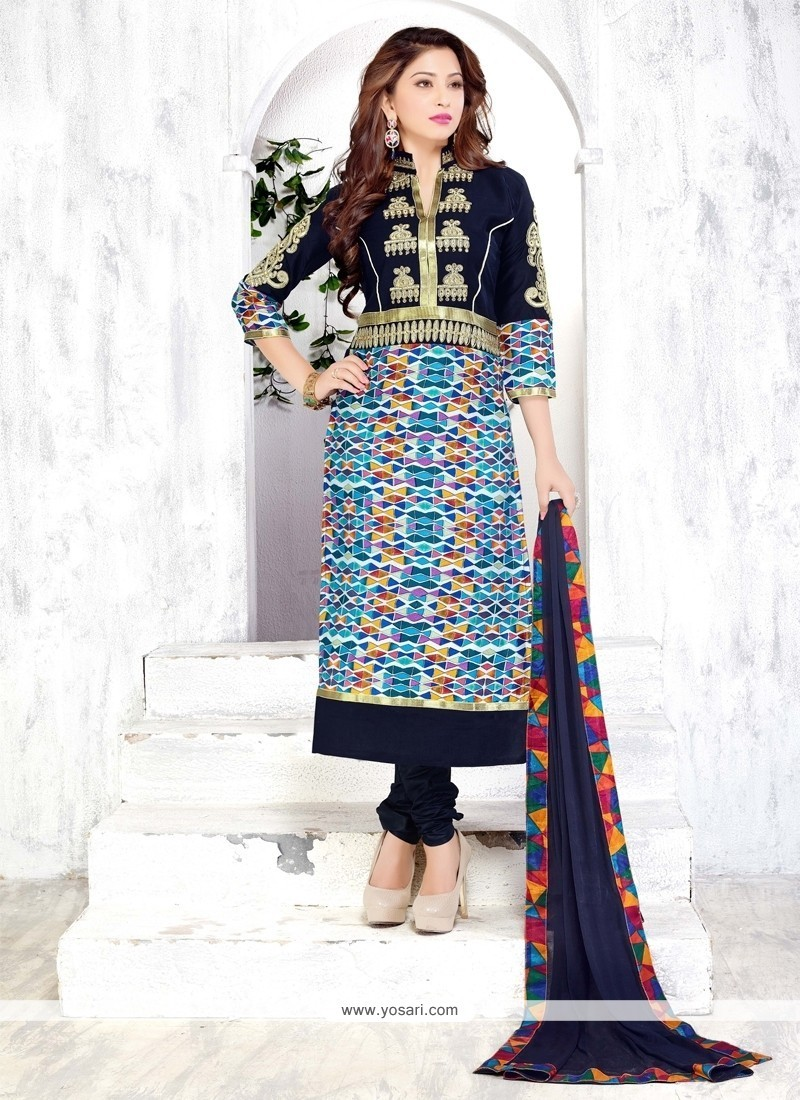 Catchy Multi Colour Print Work Churidar Designer Suit