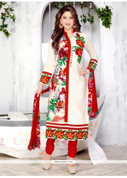 Sorcerous Embroidered Work Cream Cotton Churidar Designer Suit