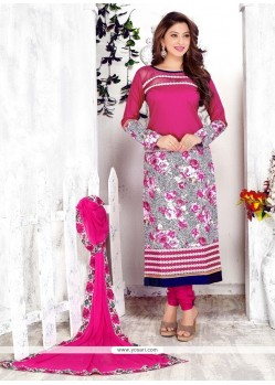 Luxurious Hot Pink Embroidered Work Cotton Churidar Designer Suit