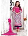 Luxurious Hot Pink Embroidered Work Cotton Churidar Designer Suit