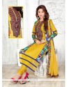 Princely Embroidered Work Yellow Cotton Churidar Designer Suit