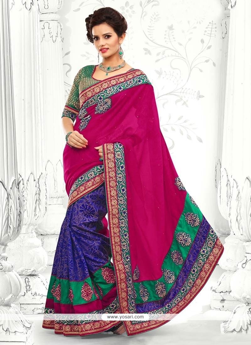 Blue And Pink Jute Silk Designer Saree