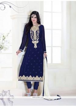Congenial Navy Blue Designer Suit