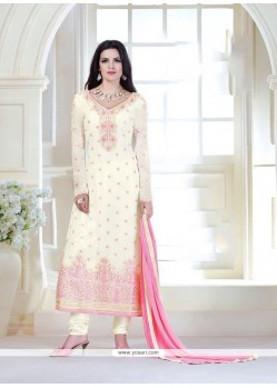 Enticing Embroidered Work Off White Designer Suit