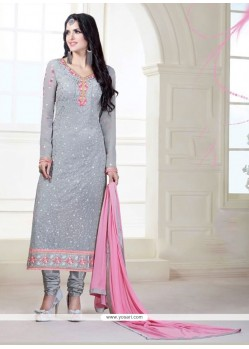 Fantastic Grey Patch Border Work Designer Suit
