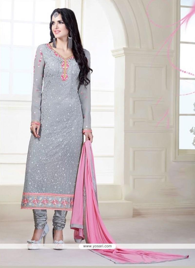 Fantastic Grey Patch Border Work Designer Suit