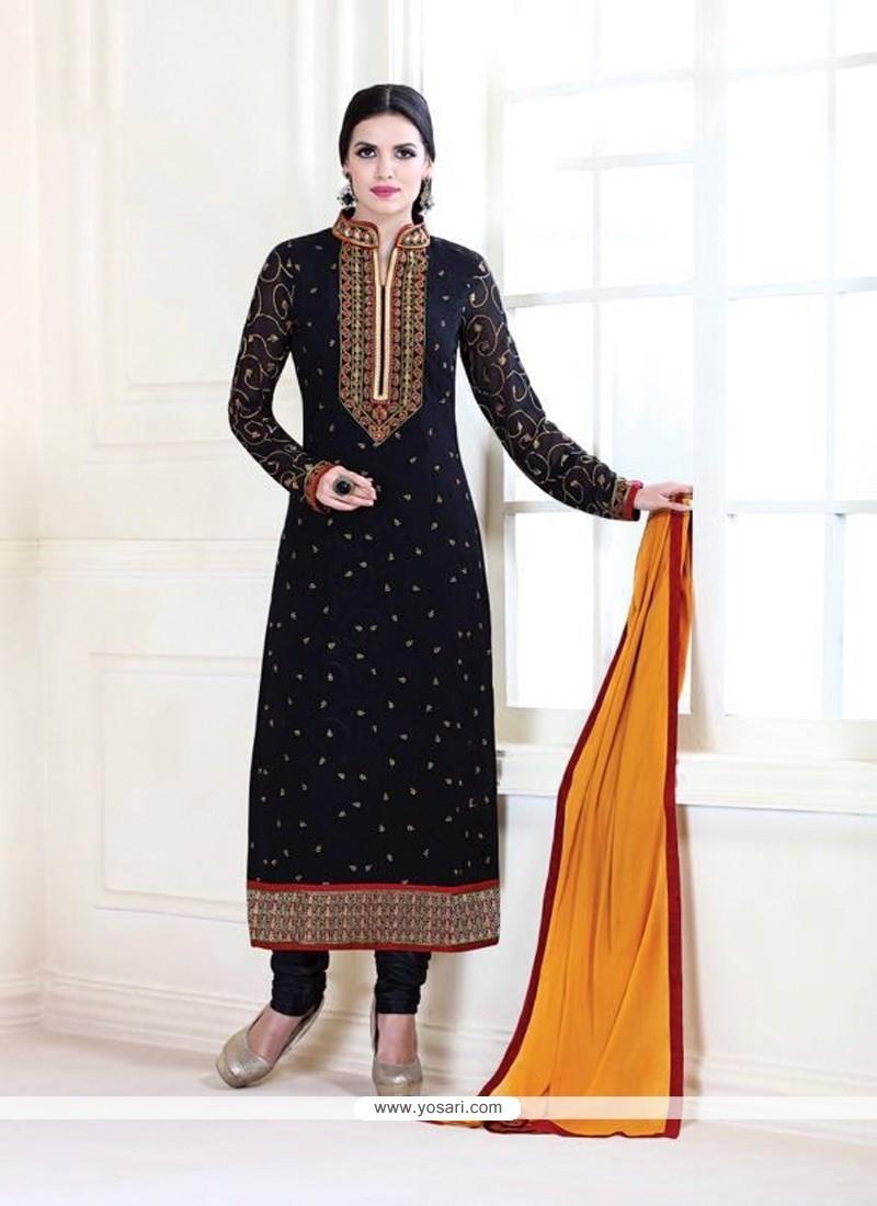 Patch Border Georgette Designer Suit In Black