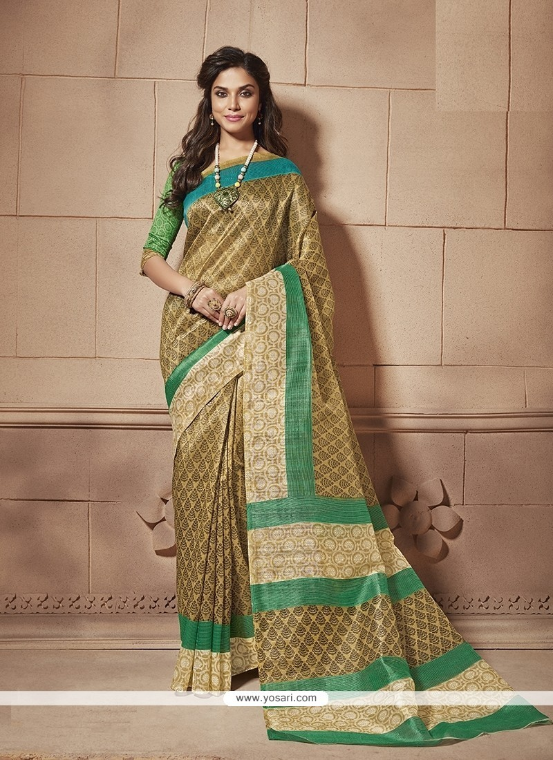 Beckoning Multi Colour Print Work Cotton Silk Casual Saree