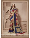 Multi Colour Print Work Cotton Silk Casual Saree