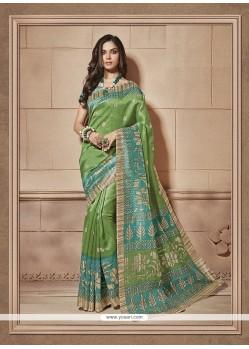 Print Cotton Silk Casual Saree In Multi Colour