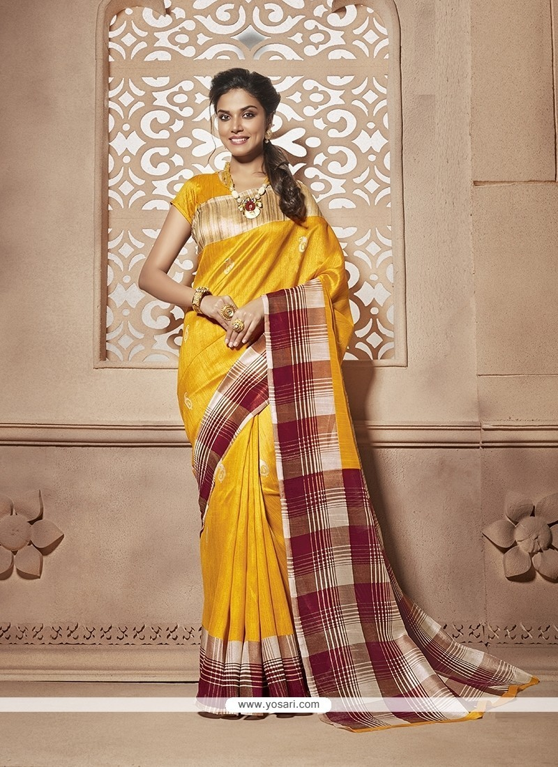 Angelic Print Work Cotton Silk Casual Saree