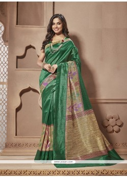 Simplistic Green Print Work Cotton Silk Casual Saree