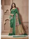 Simplistic Green Print Work Cotton Silk Casual Saree