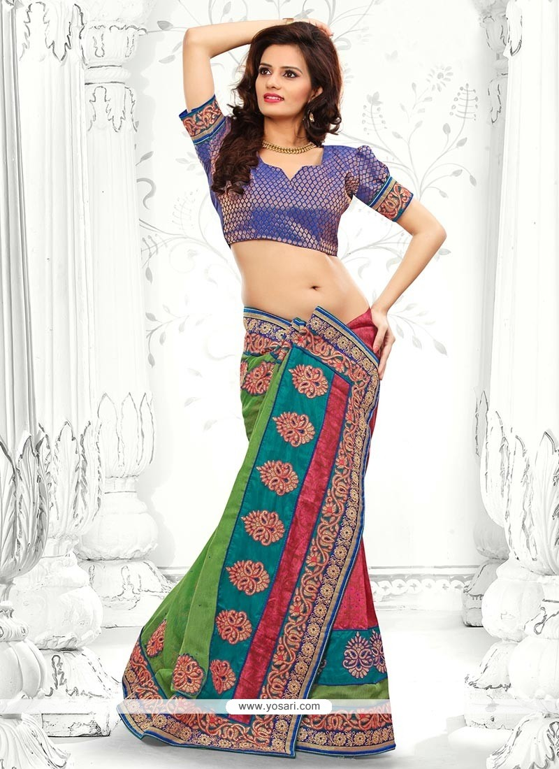 Blue And Green Bhagalpuri Silk Saree