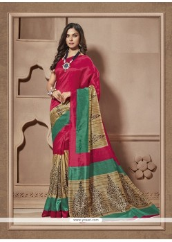 Prime Multi Colour Print Work Cotton Silk Casual Saree