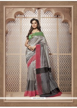 Blooming Multi Colour Print Work Cotton Silk Casual Saree