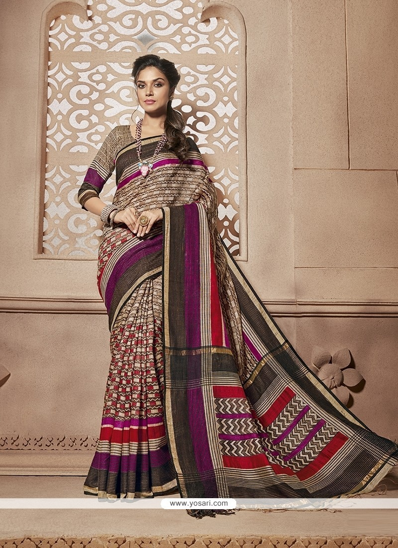 Modest Print Work Casual Saree