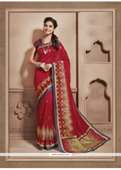 Superb Cotton Silk Red Casual Saree