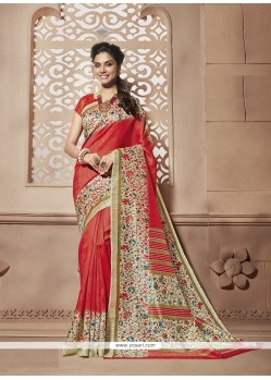 Multi Colour Print Work Cotton Silk Casual Saree