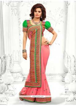 Pink Embroidery Work Designer Saree