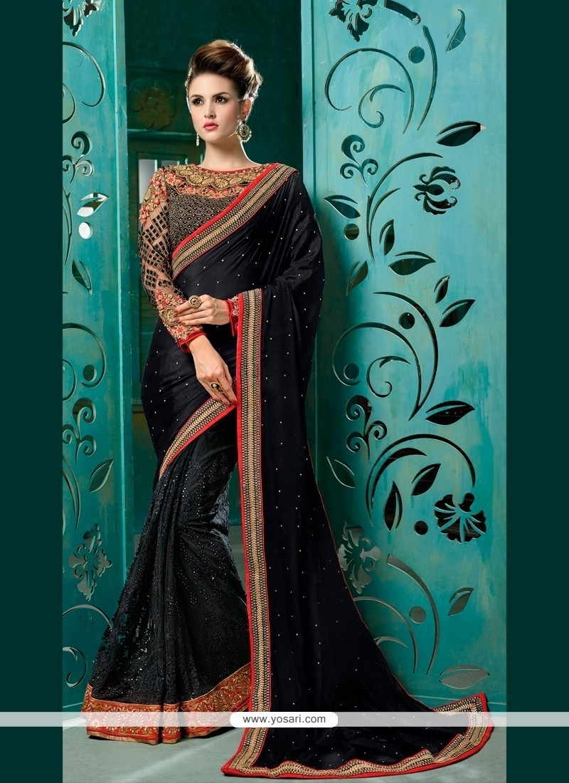 Glamorous Chiffon Satin Black Designer Half N Half Saree