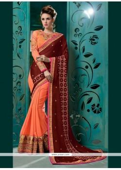Enthralling Faux Chiffon Orange Embroidered Work Classic Designer Saree