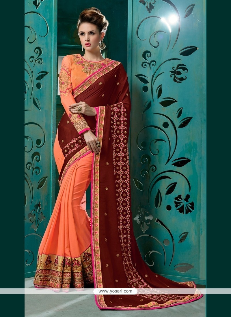 Enthralling Faux Chiffon Orange Embroidered Work Classic Designer Saree
