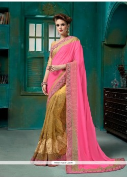Intrinsic Net Hot Pink Designer Half N Half Saree