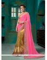 Intrinsic Net Hot Pink Designer Half N Half Saree