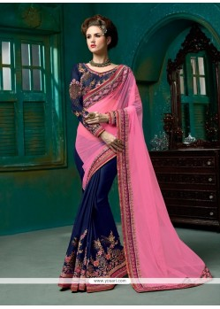 Navy Blue Embroidered Work Net Designer Half N Half Saree