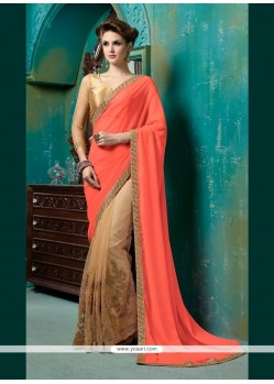 Pristine Georgette Beige And Orange Designer Half N Half Saree