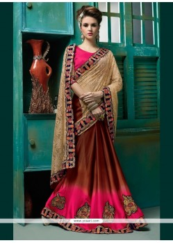 Epitome Satin Embroidered Work Designer Half N Half Saree
