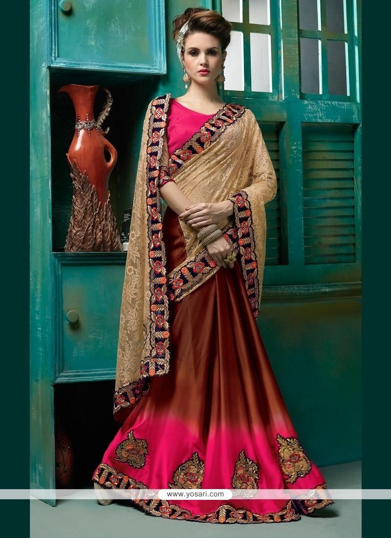 Epitome Satin Embroidered Work Designer Half N Half Saree