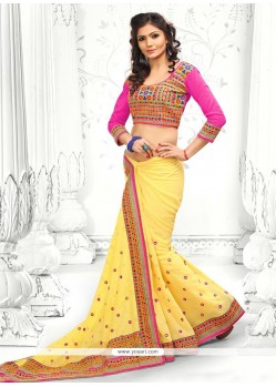 Yellow Faux Georgette Saree