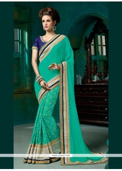 Conspicuous Embroidered Work Sea Green Designer Half N Half Saree