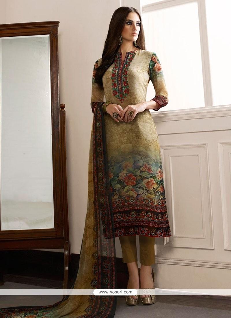 Cherubic Print Work Georgette Designer Straight Salwar Kameez