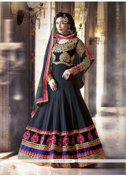Stylish Georgette Black Anarkali Salwar Kameez