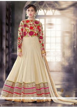 Thrilling Cream Anarkali Salwar Kameez