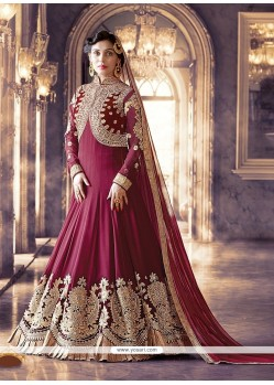 Sunshine Patch Border Work Georgette Magenta Anarkali Salwar Kameez
