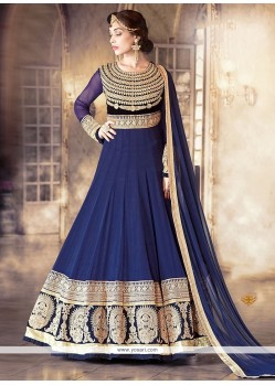 Riveting Navy Blue Anarkali Salwar Kameez