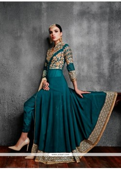 Modernistic Sea Green Patch Border Work Anarkali Salwar Kameez