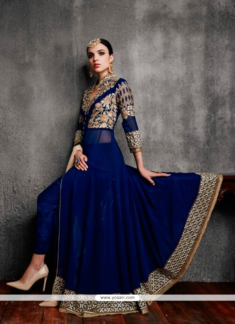 Classy Georgette Navy Blue Anarkali Salwar Kameez